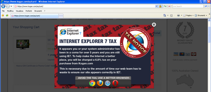 Immagine della finestra sulla tassa di Internet Explorer 7
